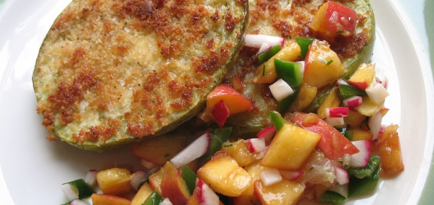 Fried Green Eggplant with Peach Salsa
