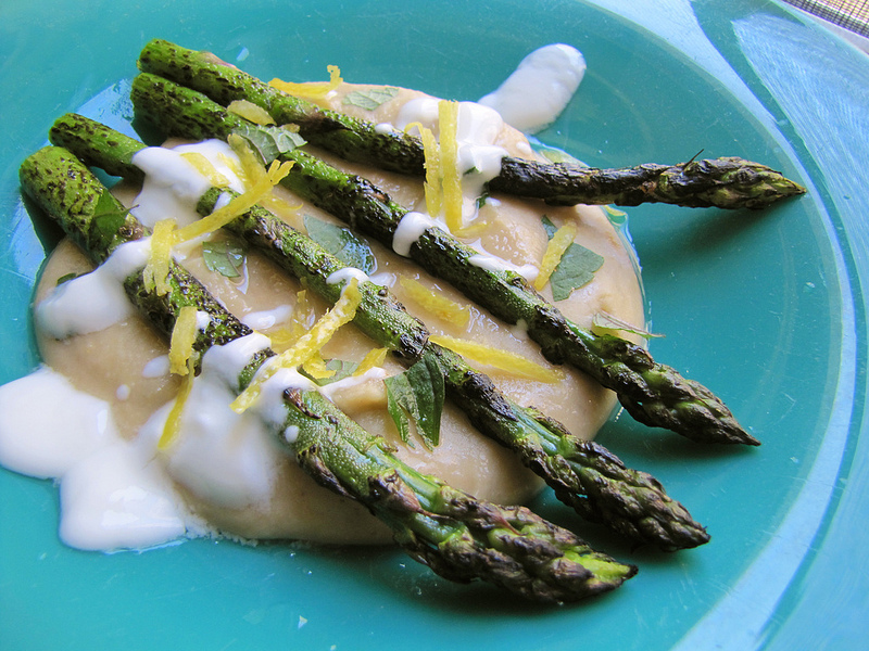 Grilled Asparagus with Red Lentil Puree, Mint & Yogurt