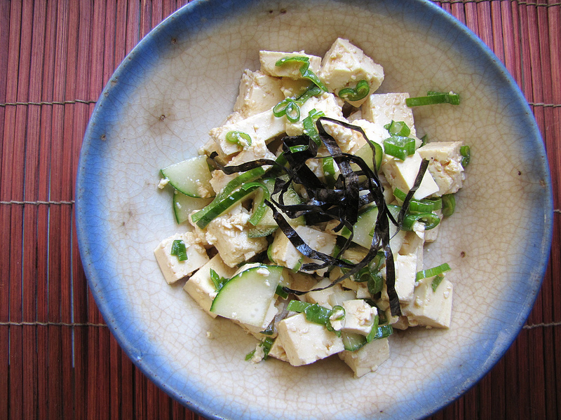 Tofu Salad with Cucumbers, Scallions & Nori