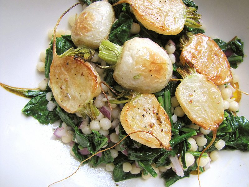 Roasted Hakurei Turnips with Israeli Couscous Salad