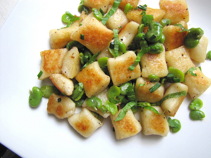 Gnocchi with Fava Beans, Garlic Scapes & Basil