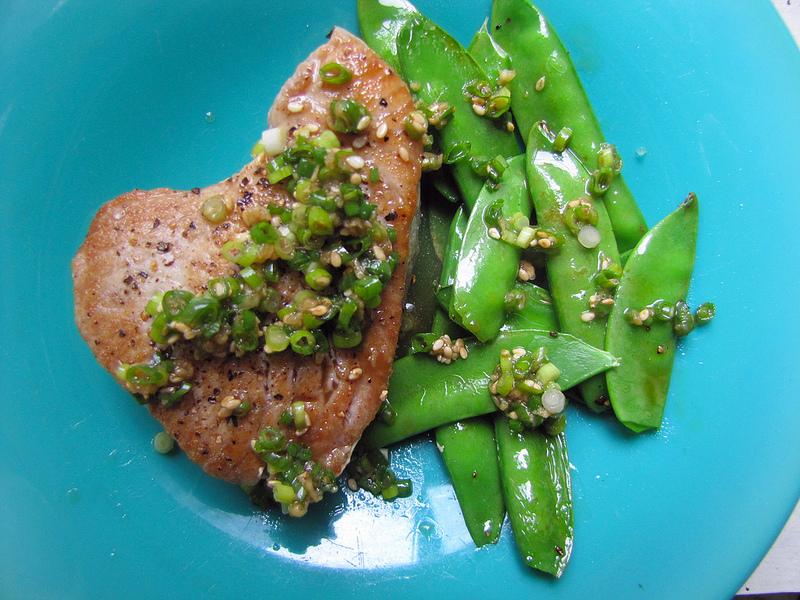 Seared Tuna Steak with Snow Peas and Ginger-Scallion Sauce