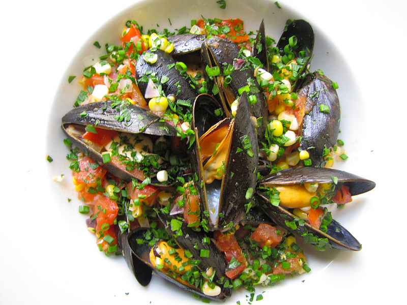 Steamed Mussels with Fresh Corn, Tomatoes & Herbs