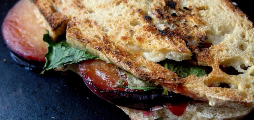 Plum, Feta and Fresh Mint Panini