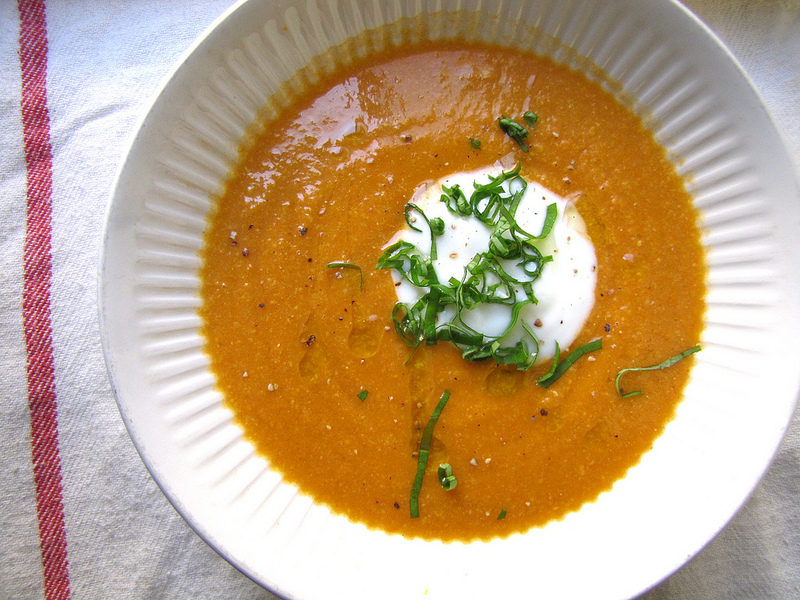 Roasted Tomato Corn Soup with Yogurt & Basil