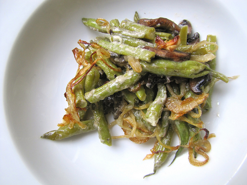 Green Bean Casserole with Caramelized Onions, Parmesan and Creme Fraiche