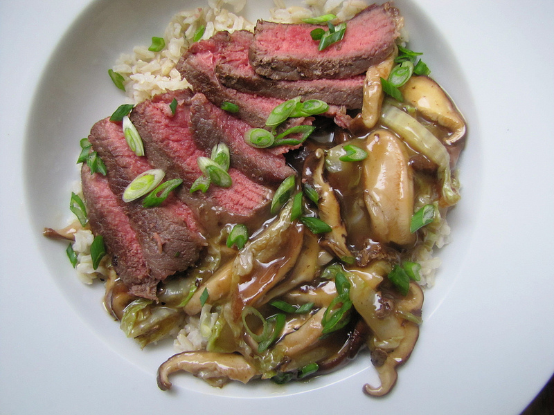 Soy-Marinated Steak with Shiitake Mushrooms and Napa Cabbage