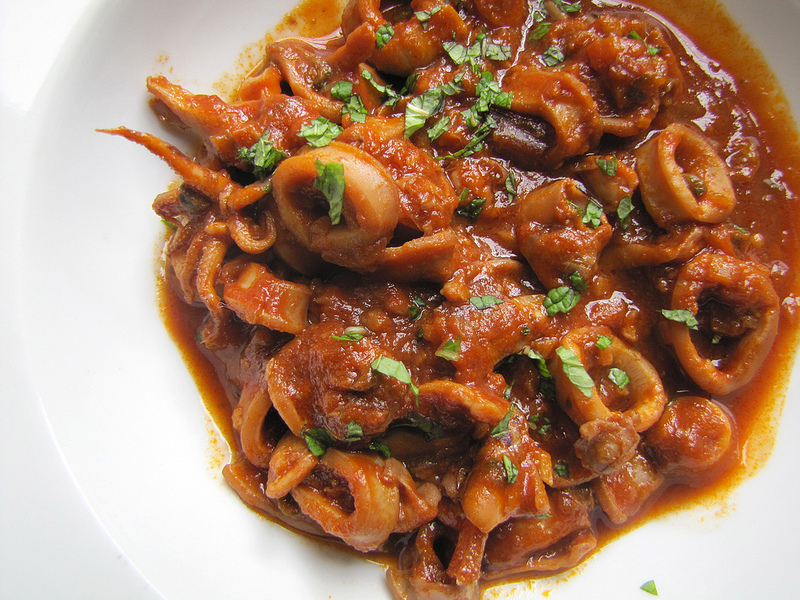 Calamari and Tomato Stew with Capers & Chilies