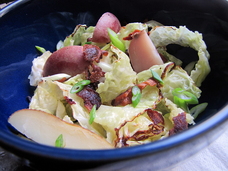 Seared Savoy Cabbage Salad with Potato, Bacon and Scallions