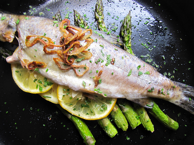 Roasted Whole Fish on Asparagus Logs