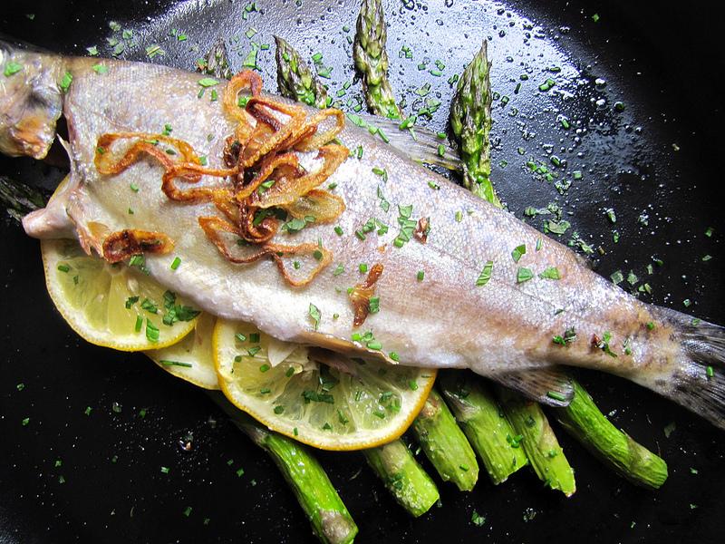 Roasted Whole Fish on Asparagus Logs