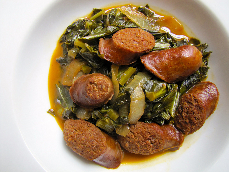 Beer-Braised Chorizo with Garlic, Onions and Greens