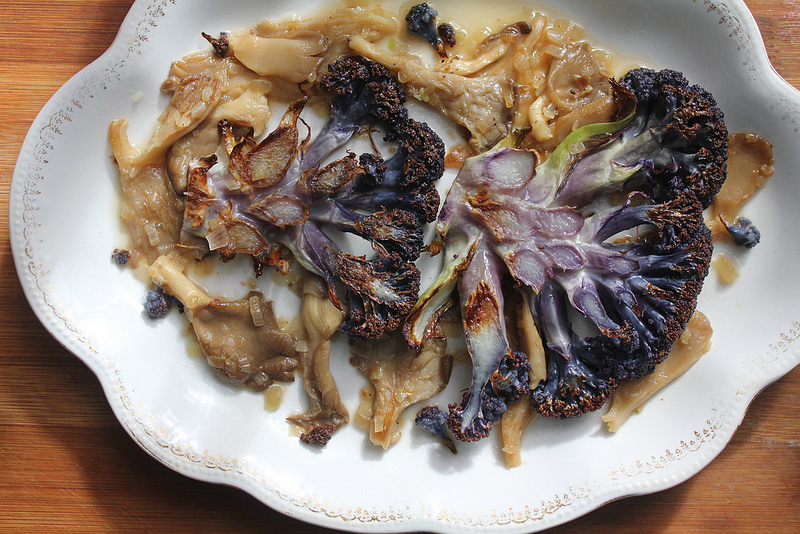"Roasted Cauliflower ""Steaks"" with Mushrooms"