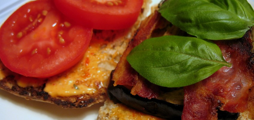 Roasted Eggplant BLT with Roasted Red Pepper Mayo