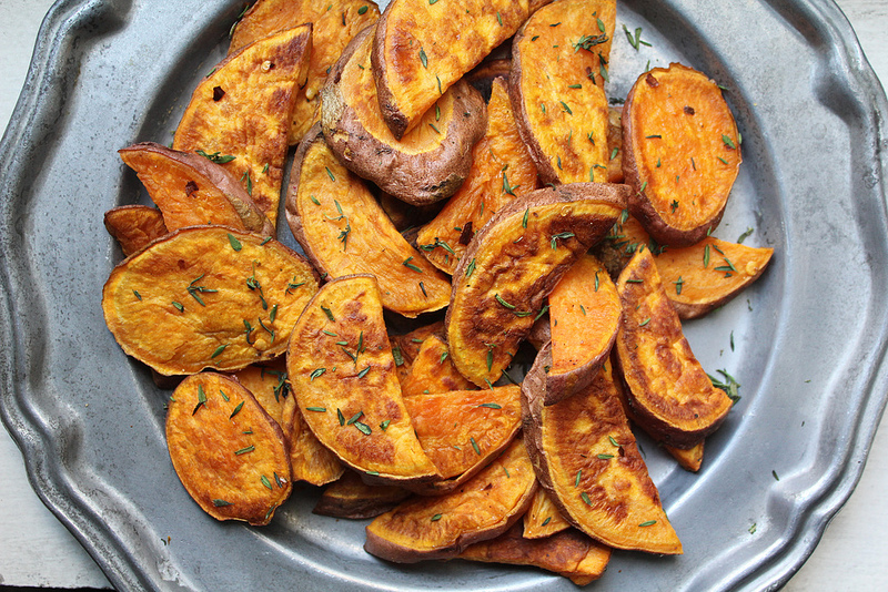 Roasted Sweet Potatoes With Chili Flakes and Fresh Herbs (Not-Candied Not-Yams)