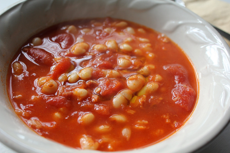 Cannellini Stewed with Tomatoes and Pancetta