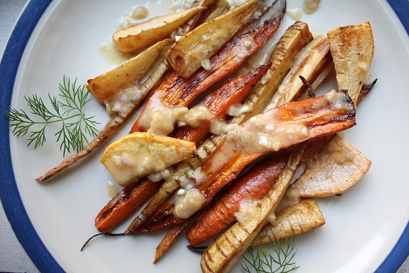 Roasted Root Vegetables with Miso Shallot Dressing