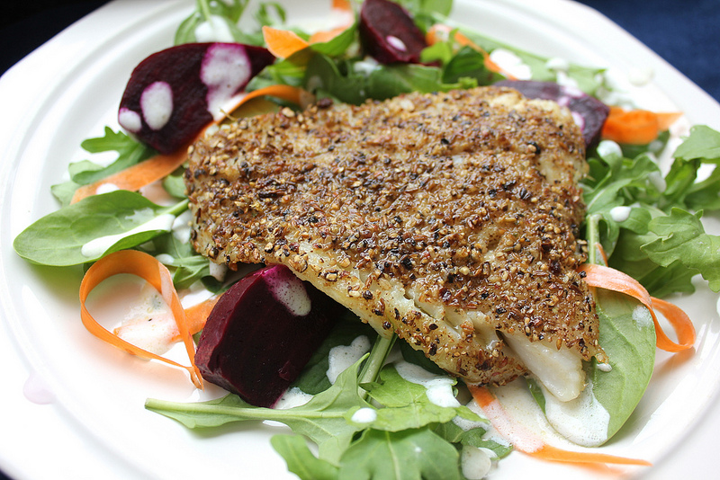 Spice-Crusted Cod with Baby Greens, Beets and Lemon-Yogurt Dressing