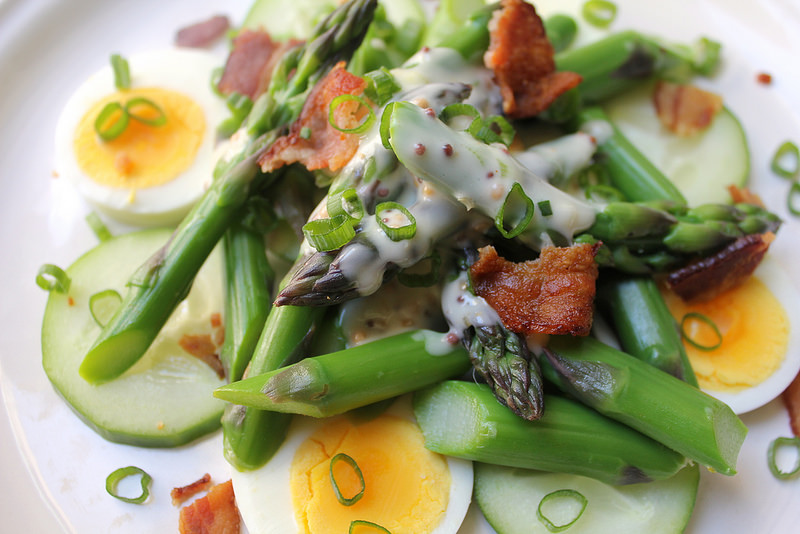 Blanched Asparagus Salad with Cucumber, Hard-Boiled Egg and Bacon