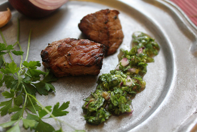 "Grilled Steak ""Shoulder Bites"" with Chimichurri (dedicated to Luis Suarez)"