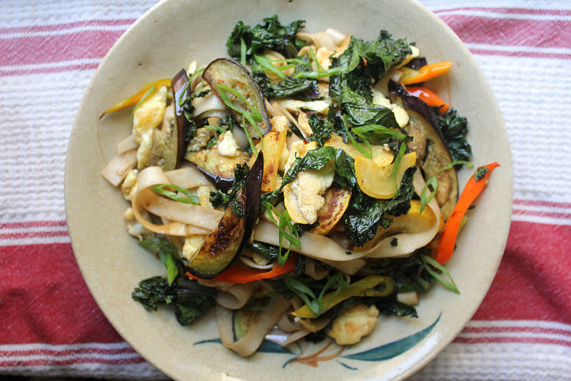 Pan-Fried Noodles with Kale and Summer Vegetables