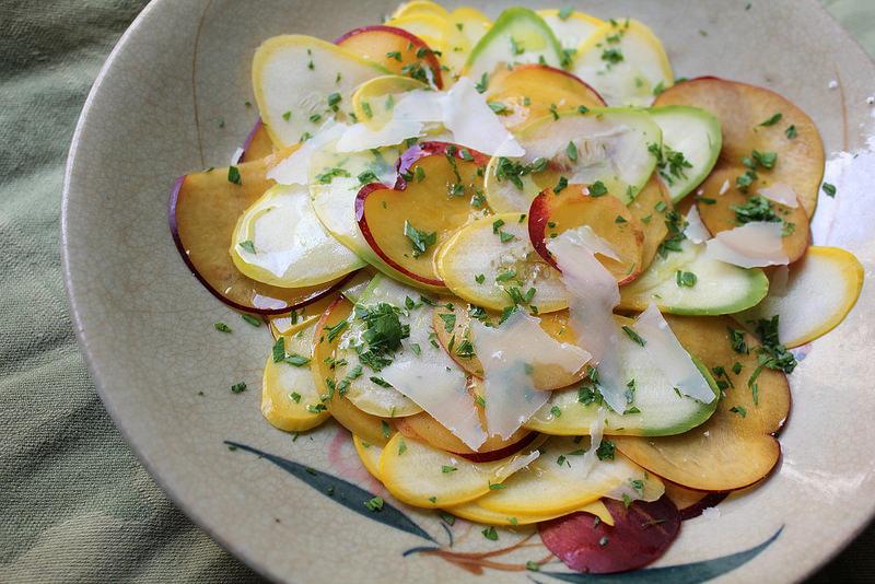 Shaved Summer Squash and Nectarine Salad